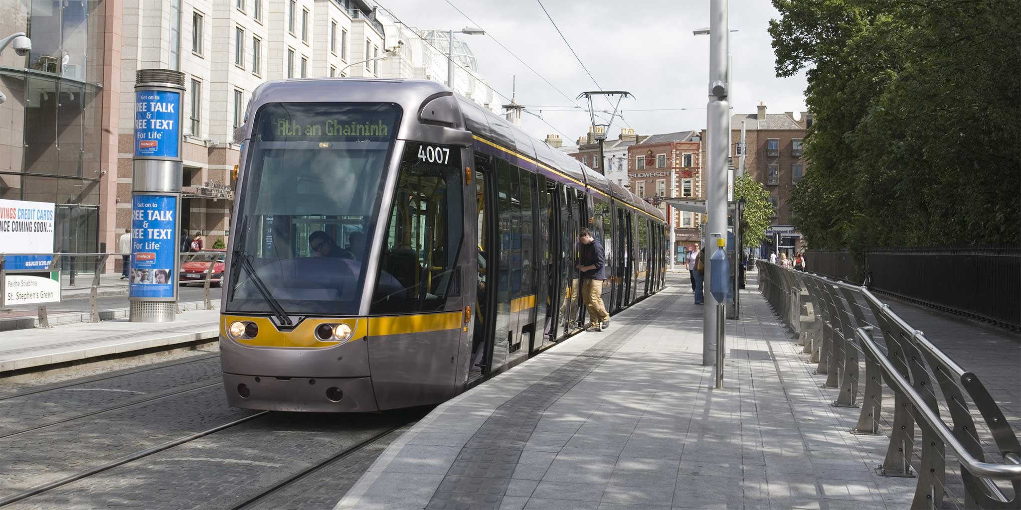 Luas in St Stephen Green in Dublin