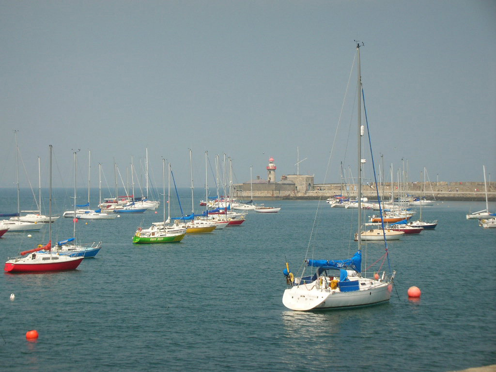 Boats in the harbour at Dun Laoghaire's West Pier